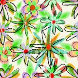 Teste padrão sujo sem emenda do fundo da flor Fotografia de Stock Royalty Free
