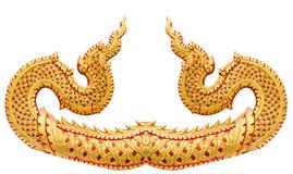 Teste padrão tailandês tradicional do estilo isolat do estuque do Naga da fuga do grande Foto de Stock