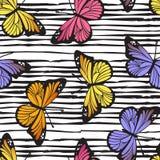 Teste padrão tirado da borboleta mão sem emenda na linha fundo da garatuja Vetor Imagens de Stock Royalty Free