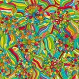 Teste padrão tirado do vetor da cor mão abstrata sem emenda louca Cores do verão, onda moderna e textura dos círculos do mosaico  Imagens de Stock Royalty Free