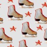 Teste padrão tirado mão da aquarela com patins de gelo e as estrelas vermelhas Fotografia de Stock