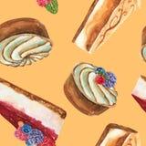 Teste padrão tirado mão da aquarela sem emenda com parte de bolo de queijo, de bolo da galdéria do creme e de bolo de queijo com  ilustração stock