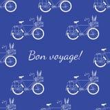 Teste padrão tirado mão da bicicleta do bon voyage Foto de Stock Royalty Free