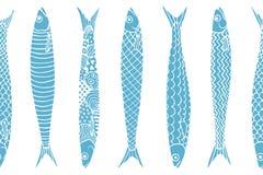 Teste padrão tirado mão das sardinhas Imagem de Stock Royalty Free