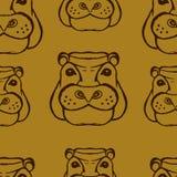 Teste padrão tirado mão do hipopótamo Fotos de Stock Royalty Free