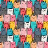 Teste padrão tirado mão do vetor do gato Arte da garatuja Imagem de Stock