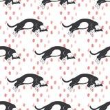 Teste padrão tirado mão dos gatos Foto de Stock Royalty Free
