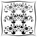 Teste padrão três floral preto e branco. Grupo Fotografia de Stock