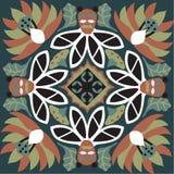 Teste padrão tradicional chinês oriental do quadrado do peixe dourado da flor de lótus Imagem de Stock