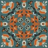 Teste padrão tradicional chinês oriental do quadrado do peixe dourado da flor de lótus Fotos de Stock Royalty Free