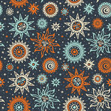Teste padrão tribal do sol abstrato Imagem de Stock Royalty Free