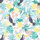 Teste padrão tropical com tucanos e frutos ilustração royalty free