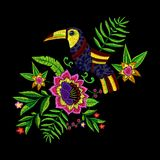 Teste padrão tropical do bordado com flores e o tucano exóticos Fotografia de Stock