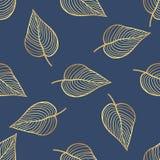 Teste padrão tropical do vetor sem emenda Folhas tropicais do ouro, folhas da selva Fotos de Stock