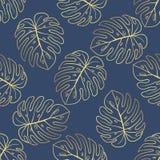 Teste padrão tropical do vetor sem emenda Folhas tropicais do ouro, folhas da selva Imagens de Stock Royalty Free