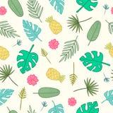 Teste padrão tropical dos desenhos animados Folhas, palmas, abacaxis, flores Imagens de Stock Royalty Free