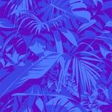Teste padrão tropical havaiano ultravioleta sem emenda com, folhas de palmeira e flores Foto de Stock Royalty Free