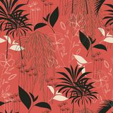 Teste padrão tropical sem emenda da tendência com folhas e as plantas brilhantes em um fundo vermelho Projeto do vetor C?pia da s ilustração royalty free