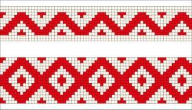 Teste padrão ucraniano ou bielorrusso do bordado da arte popular com os cavalos em vermelho e em branco ilustração stock