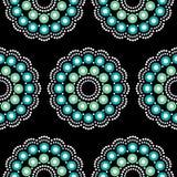 Teste padrão vecSeamless boêmio do vetor da arte popular da mandala com pássaros e flores, design floral repetitivo preto e branc Imagem de Stock