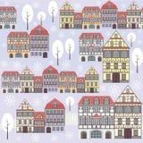 Teste padrão velho do inverno da cidade Fotografia de Stock