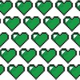 Teste padrão verde do coração do pixel Foto de Stock