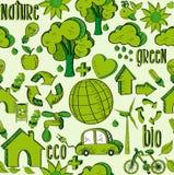 Teste padrão verde dos ícones do ambiente Imagem de Stock Royalty Free