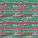Teste padrão verde e cor-de-rosa dos desenhos animados da nuvem Foto de Stock Royalty Free