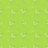Teste padrão verde monocromático sem emenda com os transportes de bebê bonitos ilustração stock