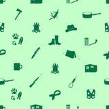 Teste padrão verde sem emenda dos ícones pretos do habitante da floresta Fotografia de Stock