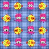 Teste padrão verific com as criaturas do mar do doodle Imagem de Stock Royalty Free