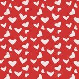Teste padrão vermelho com corações Fotos de Stock Royalty Free