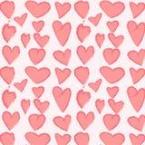 Teste padrão vermelho com corações Imagens de Stock Royalty Free
