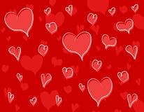 Teste padrão vermelho do fundo dos corações do Doodle Fotografia de Stock Royalty Free
