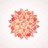 Teste padrão vermelho do laço da aquarela Elemento do vetor mandala