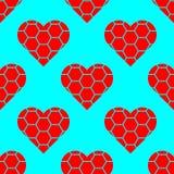 Teste padrão vermelho do símbolo dos corações no fundo azul ilustração do vetor