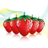 Teste padrão vermelho do sumário do contorno do fruto das morangos no fundo branco com ondas coloridas Imagens de Stock Royalty Free