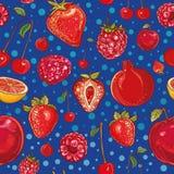 Teste padrão vermelho do vetor com frutos e bagas Fotos de Stock Royalty Free