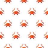 Teste padrão vermelho do vetor dos desenhos animados do caranguejo Imagens de Stock Royalty Free