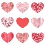 Teste padrão vermelho dos corações do projeto tirado mão da arte dos ícones do coração do esboço para o dia de são valentim Fotos de Stock