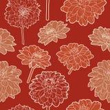 Teste padrão vermelho japonês do vintage floral sem emenda surpreendente Foto de Stock Royalty Free