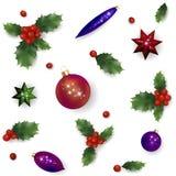 Teste padrão vermelho realístico da baga do azevinho do ano novo do Natal O grupo de elemento do projeto da decoração do feriado  ilustração do vetor