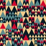 Teste padrão vermelho sem emenda do quadrado de Tan Colors Geometric Irregular Triangle dos azuis marinhos do vetor ilustração stock