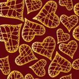 Teste padrão vermelho sem emenda festivo para St Valentine Day com corações dourados ilustração do vetor