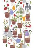 Teste padrão vertical sem emenda com ferramentas de jardinagem Fotos de Stock Royalty Free