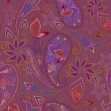 Teste padrão violeta sem emenda com paisley e borboletas Cópia do vetor Imagens de Stock