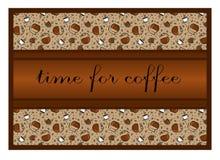 Teste padrão: xícaras de café e acessórios do café, feijões de café Th Fotografia de Stock Royalty Free