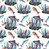 Teste padr?o com peixes ilustração royalty free