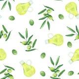 Teste padr?o da aquarela com azeitonas, ramos de oliveira, uma garrafa do azeite ilustração do vetor