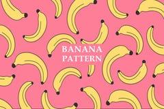Teste padr?o da banana do vetor Face das mulheres Hand-drawn de illustration Cartaz, bandeira, papel de envolvimento, decoração d ilustração do vetor